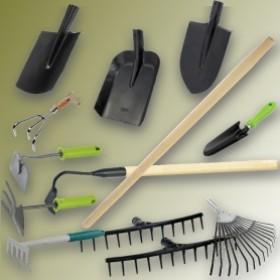 Лопати, граблі, сапи, держаки
