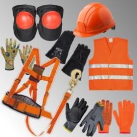 Каски, наколінники, жилети, рукавички, страхувальні пояси